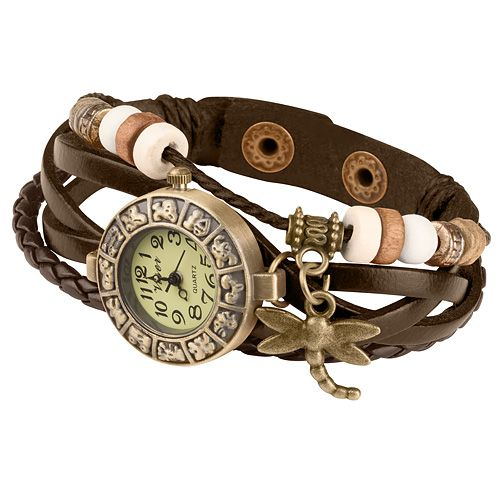 Damen retro leder armbanduhr
