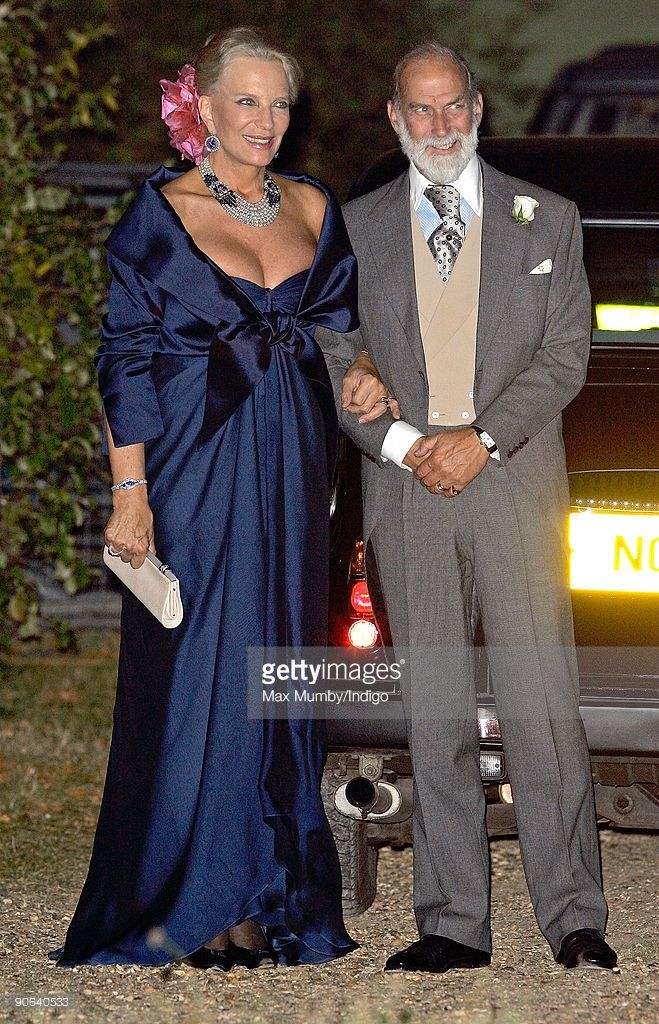 HRH Princess Michael of Kent and HRH Prince Michael of Kent arrive at the home of Lady Annabel Goldsmith for an evening reception after attending the wedding of Lord Frederick (Freddie) Windsor and Sophie Winkleman on September 12, 2009 in London, England.