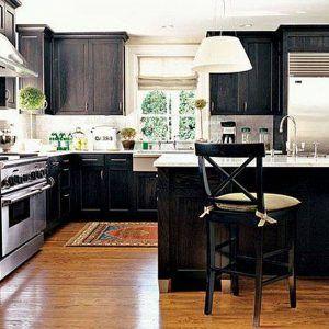 White Kitchen Cabinets With Dark Wood Trim