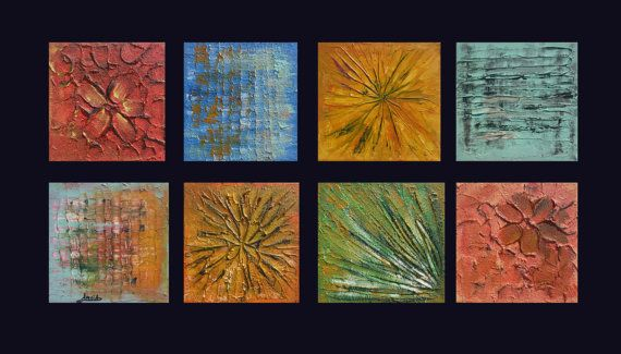 Abstract painting set canvas polyptych Painting by artstudioAreti