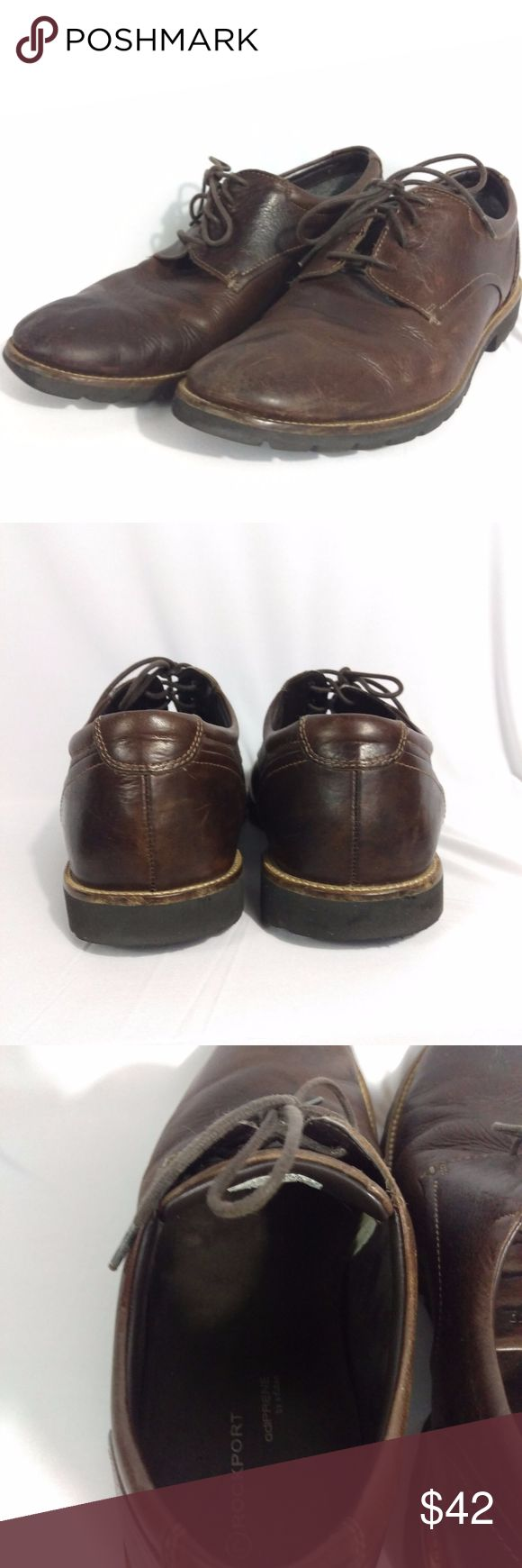 """Rockport Shoes Colben Plain Toe Oxford Brown 10M Rockport Mens Oxford Dress Casual Shoes  Size 10M Leather Upper,  Adidas Adiprene Sole Adidas Adiprene Cushioned Insole  Round toe, 1"""" Heel  Soles measure 12-1/4"""" in length by 4.5"""" at widest point   Light scuffing exactly as seen in photos. Rockport Shoes Oxfords & Derbys"""