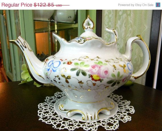 ON SALE Teapot   Stunning Vintage Tea Pot  VA by TheVintageTeacup,