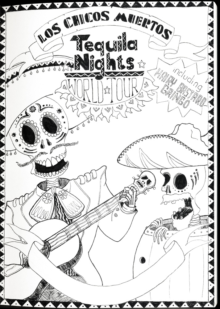 "Los Chicos Muertos - Tequila Nights - by VKorpela | Part of the ""Doodling at Work (Vol.1)"" illustrations"
