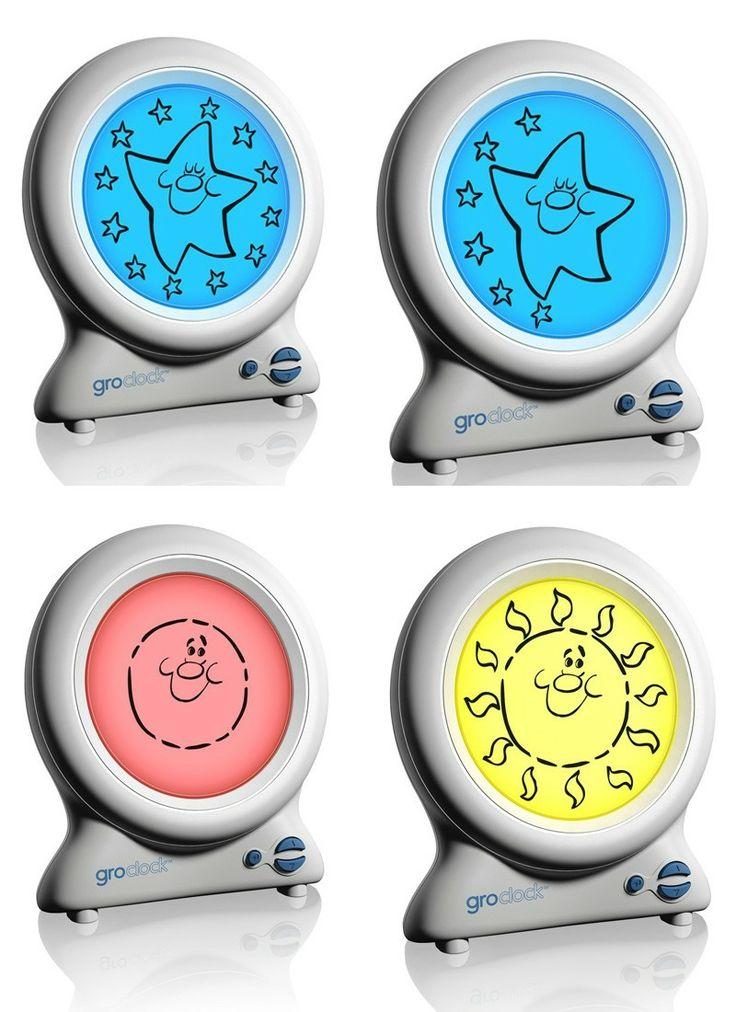 """Horloge Gro-clock, une façon simplifiée pour l'enfant de distinguer le jour de la nuit. Une façon intuitive et saine de """"réveiller"""" les enfants: la pièce s'illumine de plus en plus lorsqu'on approche l'heure!"""