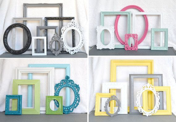 Custom Frames Vintage LARGE ORNATE OPEN Frames set of 7 ...chosen & pictured... You Pick Your Own Colors Upcycled Frames Nursery Wedding