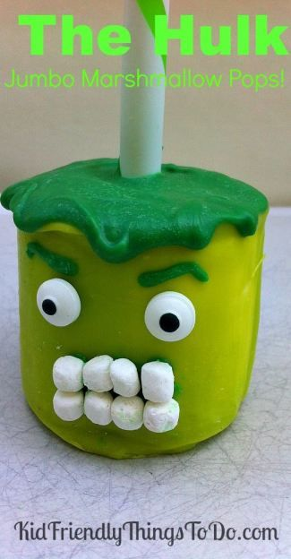 The Hulk Jumbo Marshmallow Pops Idea - perfect for Avengers Birthday Parties