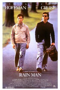 Selfish yuppie Charlie Babbitts father left a fortune to his savant brother Raymond and a pittance to Charlie; they travel cross-country