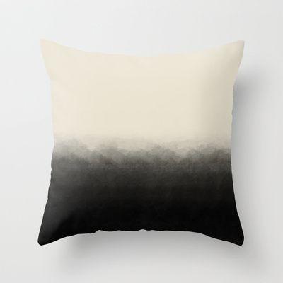 Fade to Black Mountains Throw Pillow