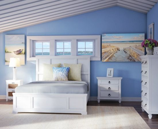 Beach Bedroom with White Chests and Nightstand... Shop the Look: http://www.beachblissdesigns.com/2017/01/white-panel-bed-with-chest-nightstands-beach-bedroom.html