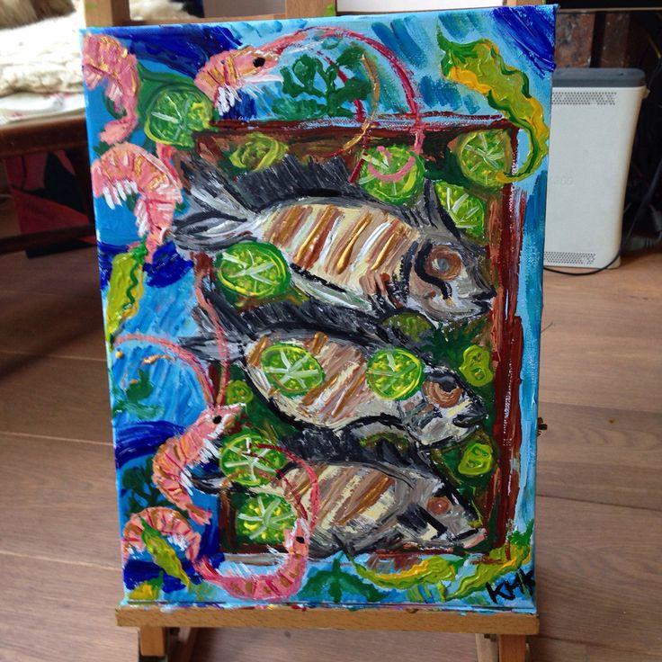 Fish 'n dish, acryl