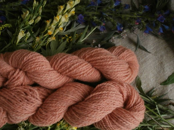 Naturaly Plant Dyed Wool Yarn In Orange Apricot Dk Yarn