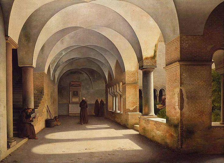 Christoffer Wilhelm Eckersberg (1783-1853)     The cloister of San Lorenzo fuori le mure (1824) A courtyard, a gallery that surrounds it, stays together surround and organized with the help of the shadow of the gallery. Disciplined life in a singularly persistent architectural type in convents, schools and hospitals, beyond the Panopticon.