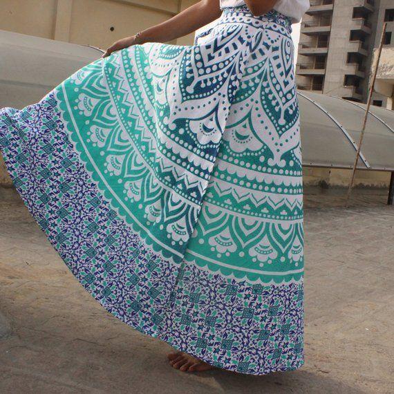 Green Mandala wrap skirts, Mandala maxi skirt, Bohemian wrap maxi skirt, Indian …