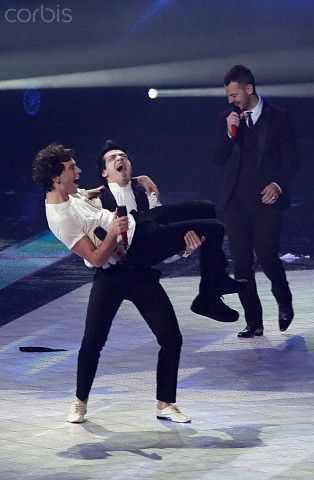 DECEMBER 12: Mika and Morgan performs at 'X Factor 2013