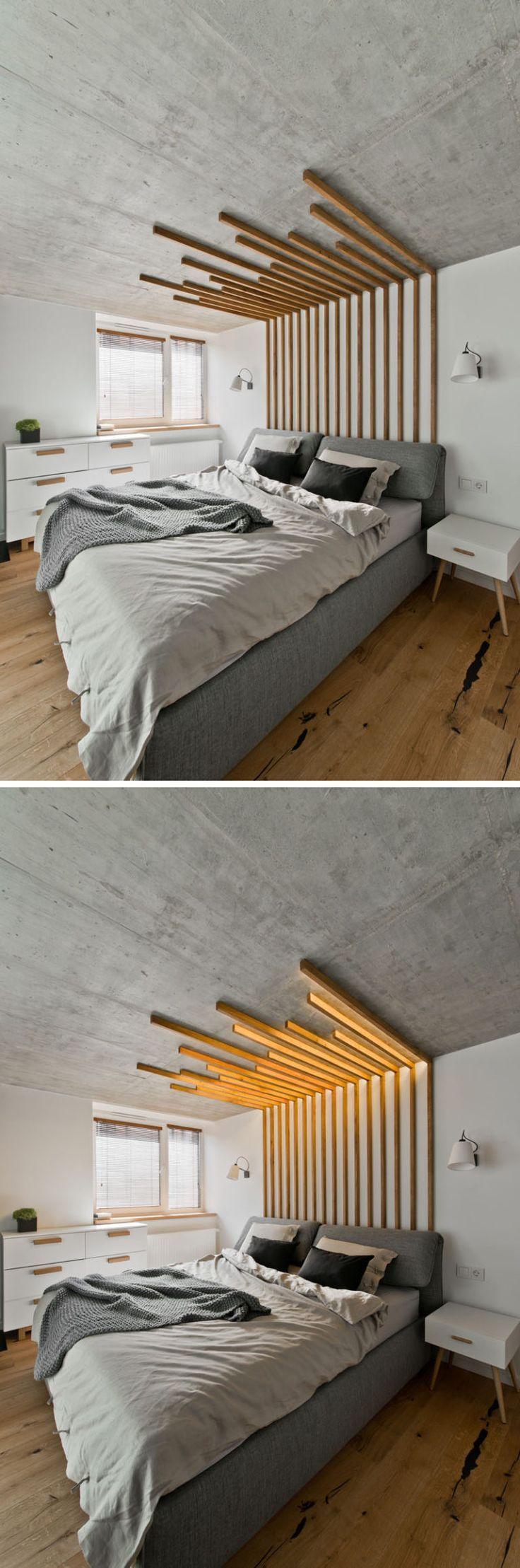 Dieses dekorative Holz Feature Stück über dem Bett, das nicht