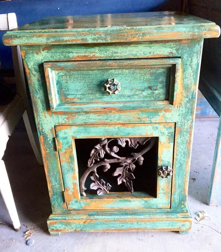 Shabby Chic Nightstand, chippy paint, green w/ copper undertones over stained pine, vintage, farmhouse, end table w/ garden hose turn knobs by ReincarnatedwithLove on Etsy https://www.etsy.com/listing/255484807/shabby-chic-nightstand-chippy-paint