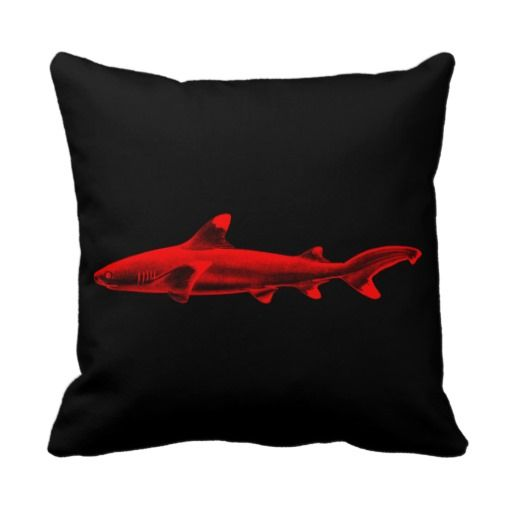 This Is Great For Vintage Reef Shark Illustration Red Black Sharks Pillow  Vintage