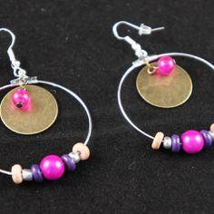 Boucles d'oreilles créoles sequins bronze, perles miracle et howlite   My Creation   CreaTis and Beads