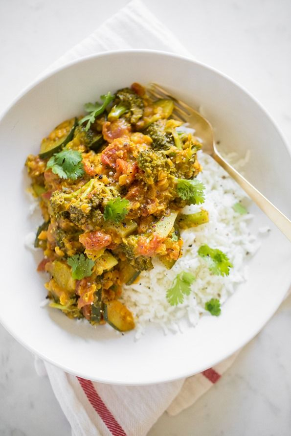 8-Minute Pantry Dal: Two Ways – Oh She Glows.  Used 1/2 head broccoli, 1 russet potato, 3 celery stalks for a single recipe. Double next time. Used jasmine brown rice