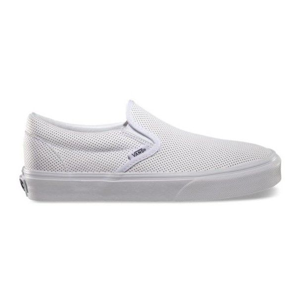 Perf Leather Slip-On ($60) ❤ liked on Polyvore featuring shoes, sneakers, vans, leder, schuhe, white, white shoes, vans sneakers, leather sneakers and white low top sneakers