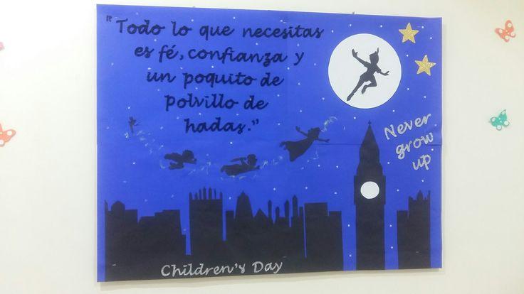 Children's day board decoration. For school. Decoração de dia das crianças. Escola. Peter Pan.