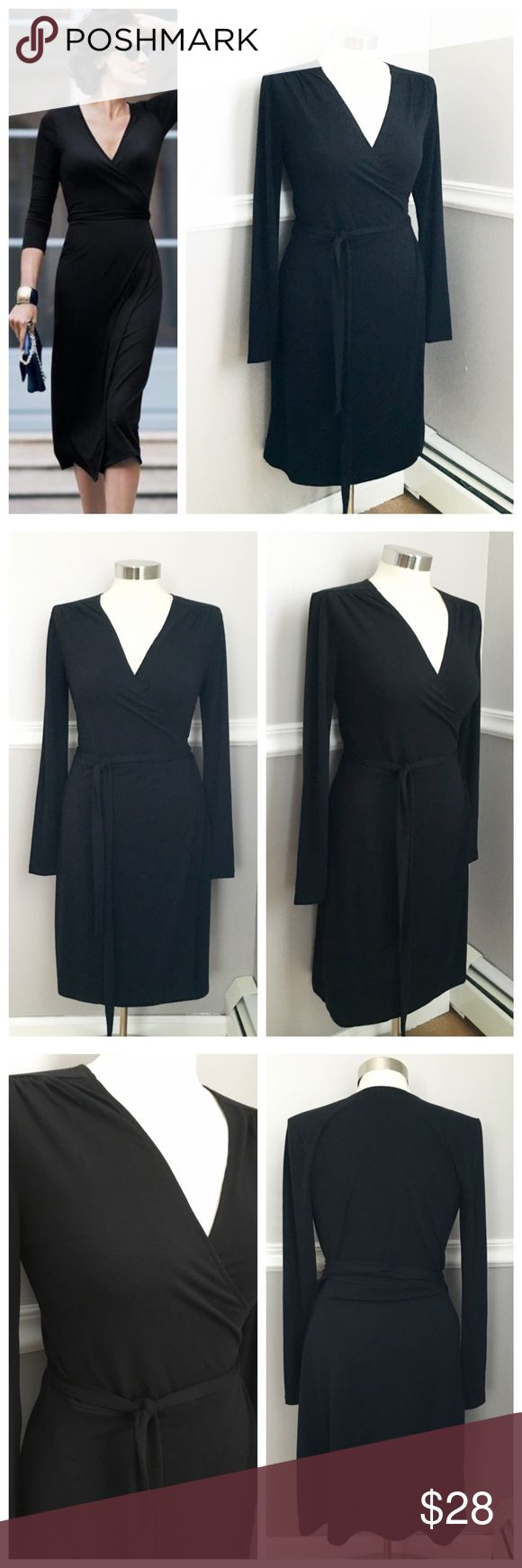 Black Wrap Dress Classic black wrap dress - old navy. Soft fabric with a bit of stretch. Worn once for a few hours only. Long sleeves. First photo on left not actual item * just showing for style! BUNDLES 20% OFF 🎉 Old Navy Dresses