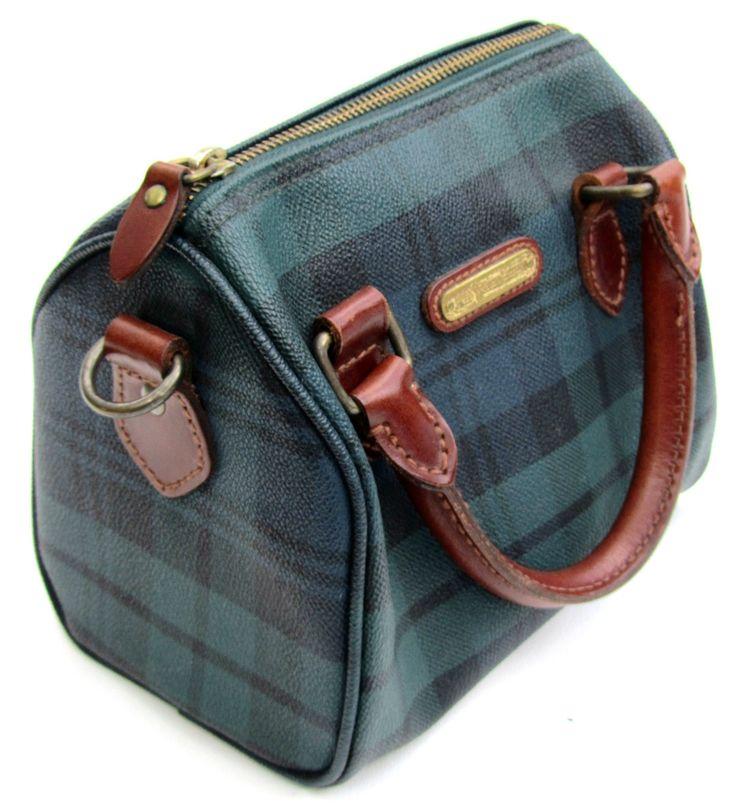 POLO Ralph Lauren Vintage 80s Bag Purse Satchel Blackwatch Plaid Leather  RARE