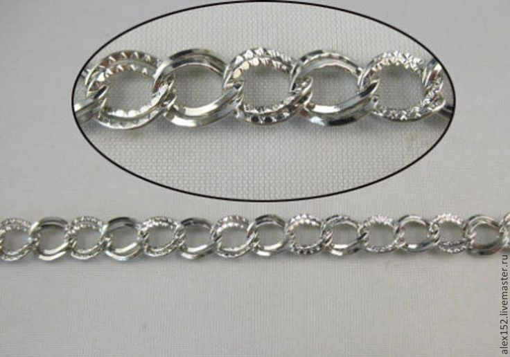Купить 50 см Цепь двойная звено 9 х7 мм родированное покрытие - серебряный