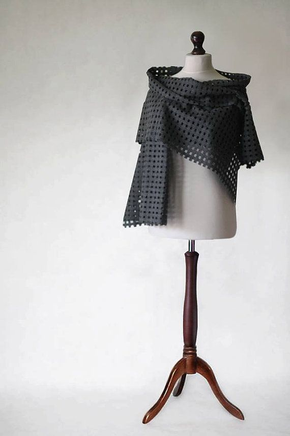 Wool scarf gray scarf shawl wrap fabric scarf by KnitwearFactory
