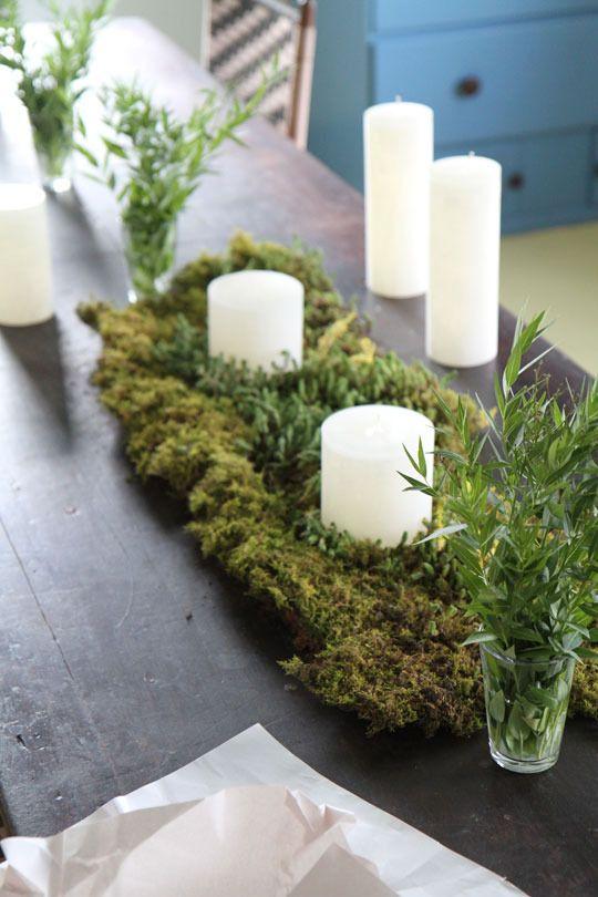 natural look : ) moss centerpiece. Pretty.