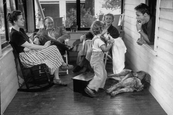 Marlon Brando with his family