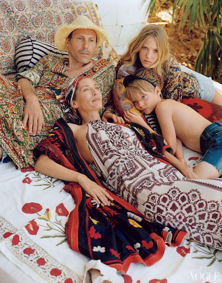 Marlon Richards, Lucie de la Falaise and family in Vogue