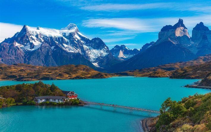 Descargar fondos de pantalla Dickson Lago, lago de montaña de la región de Magallanes, las montañas, el lago azul, Chile