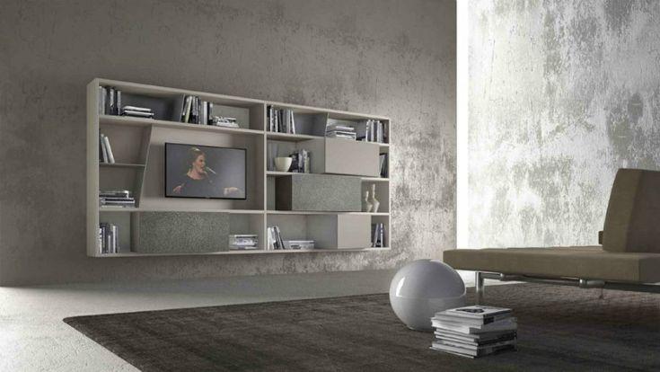 CrossART wall-mounted TV bookshelf from Presotto