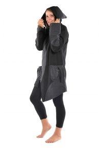 Manteau ethnique noire gris grand froid Dayang - FZ1665 - 100% pur coton épais du Népal doublé polaire.