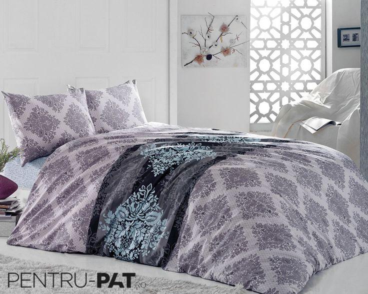 Set cuvertura pat pentru doua persoane Anatolia blue & grey