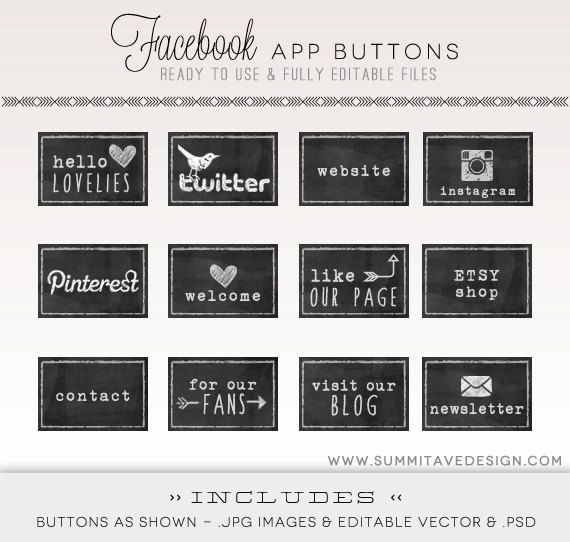 INSTANT DOWNLOAD Facebook Timeline chalk board Tab Images - App buttons - social icons. $8.00, via Etsy.