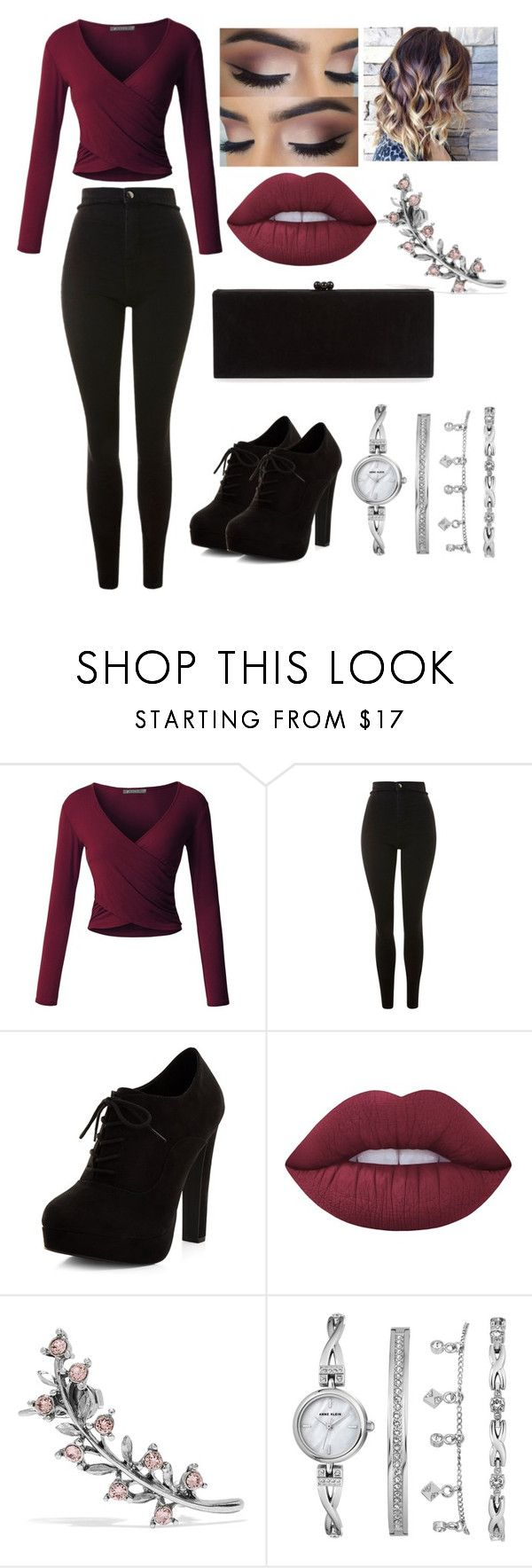 """""""Hot"""" by demi7506 ❤ liked on Polyvore featuring LE3NO, Topshop, New Look, Lime Crime, Oscar de la Renta, Anne Klein and Edie Parker"""