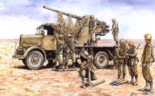 Cañón antiaéreo italiano de 90mm montado en camión, Libia 1.941. Más en www.elgrancapitan.org/foro/