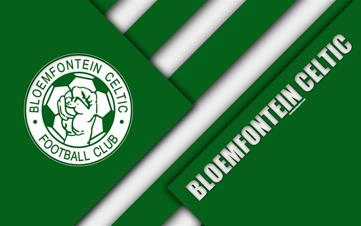 Download wallpapers Bloemfontein Celtic FC, 4k, South African Football Club, logo, green white abstraction, material design, Bloemfontein, South Africa, Premier Soccer League, football