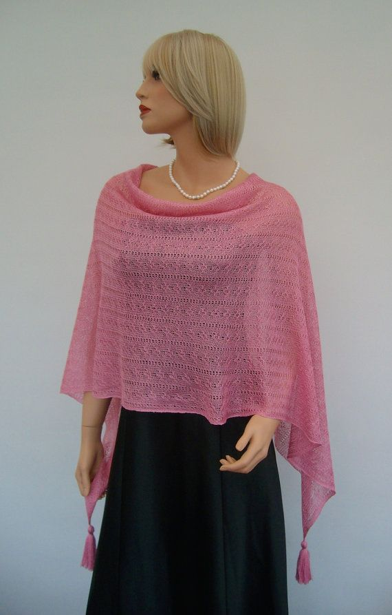 Knit Pink Cotton Poncho. Pink Orchid colour by GrazinasDesign