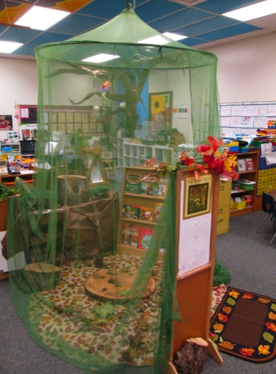 Tree Homes Center: a dramatic play center that extended learning experiences while students learned about trees and the animals that live in trees or get their food from trees. This netting structure was purchased at Ikea.