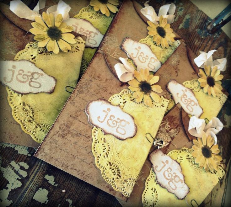 Wedding Invitation Handmade Yellow Daisy Black eyed susan Country Chic. $8.00, via Etsy.