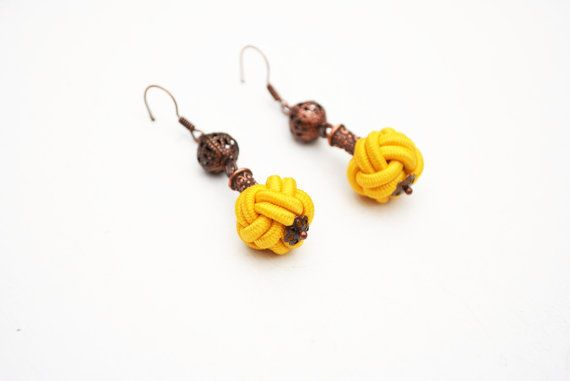 Chinese button knot earrings  yellow earrings by elfinadesign