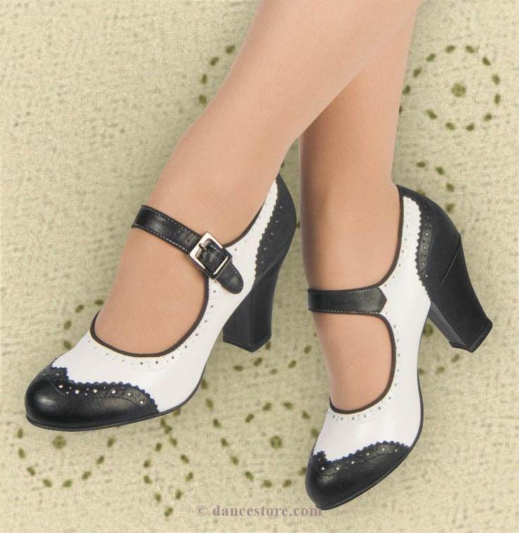 Aris Allen Black and White 1940s Heeled Wingtip Mary Jane Swing Dance Shoe