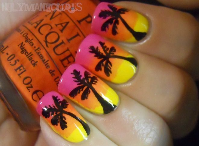 Holy Manicures: Sunset Palm Tree Nails.