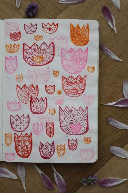 #flowers #tulips #pattern #watercolor #sketchbook #colors