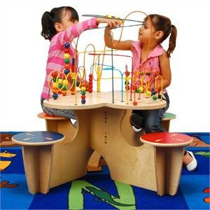 Anatex Fleur Rollercoaster Table with 4 Attached Seats | Wire Bead Play Tables | Office Waiting Room Toys