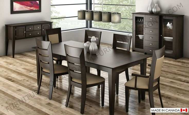solid wood dining chairs made in Canada. Choice of wood stain and fabric.