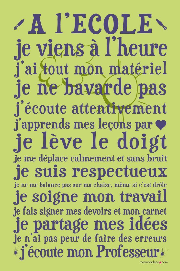 Affiche adhésive - Sticker géant - Poster autocollant - Déco école, cadeau maîtresse